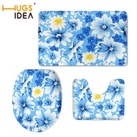 HUGSIDEA Beauty Blue Floral Print Toilet Seat Covers 3 PCS Set Waterproof Non slip Seat Toilet Cover Bathroom Mat WC Accessories