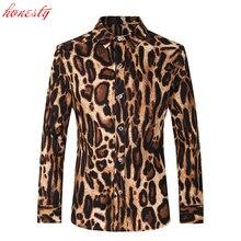 Leopard Männer Shirts Langarm Slim Fit Hemden Neue Marke Mode Printed drehen-unten Kragen Hemden Chemise Homme V006