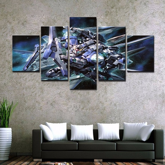 5 Piece Hd Print Painting Gundam Modern For Home Decor Paintings On