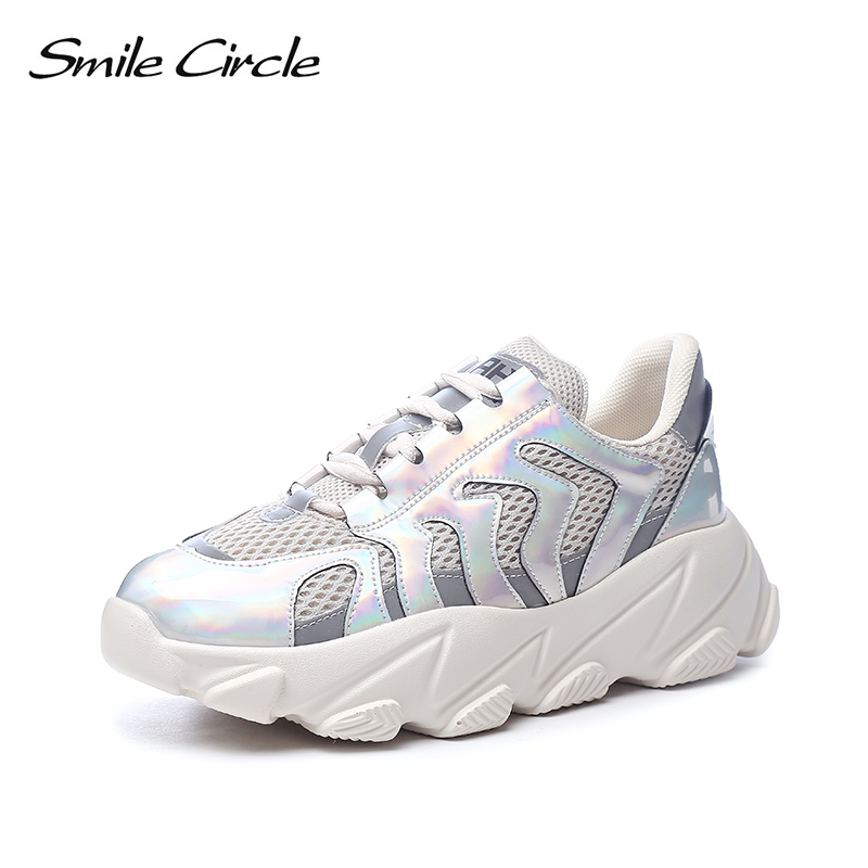 Smile Circle 2019 Shoes Women Sneakers fashion Breathable mesh Lace up chunky Sneakers Flat platform casual