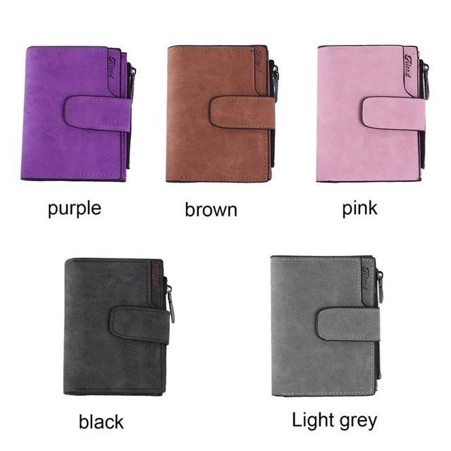 Vintage Style Women Short Wallet Female Leather Clutch Purse Coin Credit Card Holder Short Purse Lady Clutch Matte Wallet Hot