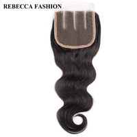 Rebecca Brazilian Body Wave Hair Clousure Remy Human Hair Lace Closure Three Part 4x4 For Hair