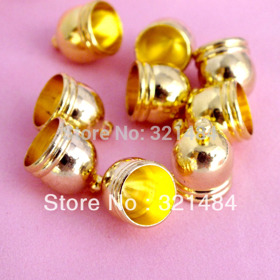10x14mm 9mm hole Gold plated cord end caps for leather cord and