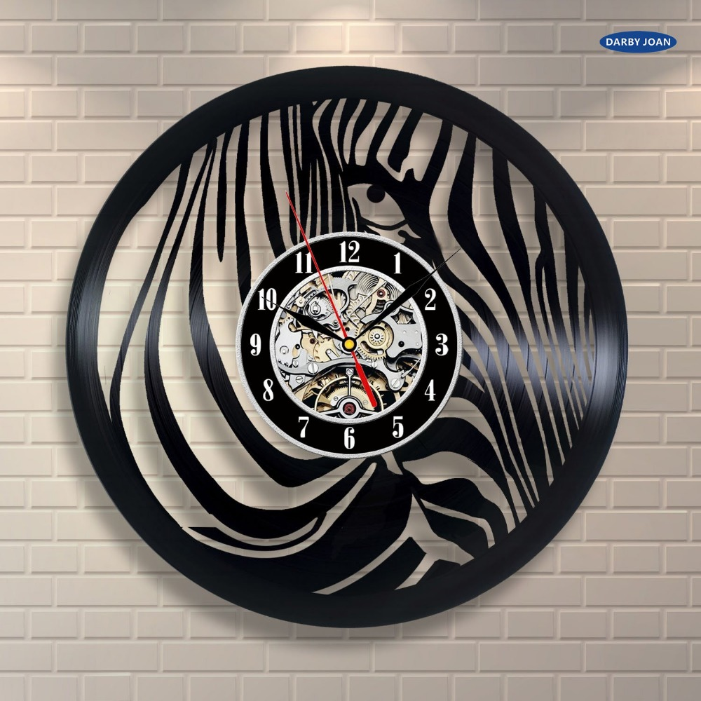 2017 zebra animal vinyl record wall clock art room decor. Black Bedroom Furniture Sets. Home Design Ideas