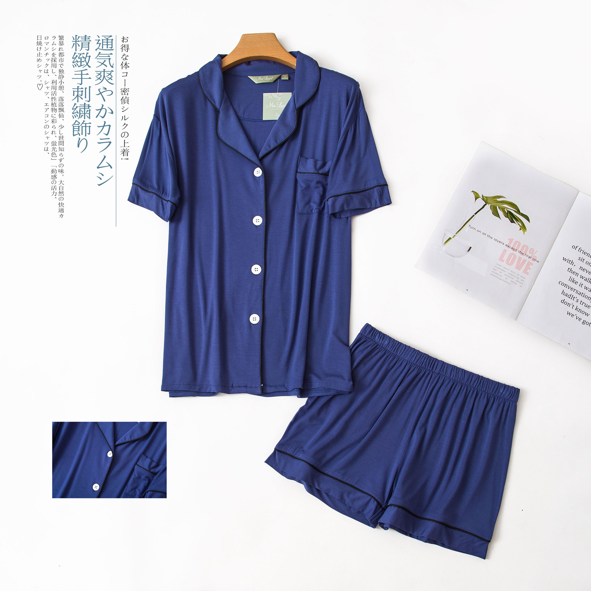 Image 5 - Sexy Couples short modal pajamas sets women and men sleep indoor korean pyjamas Summer short sleeves pijamas de las mujeresPajama Sets   -