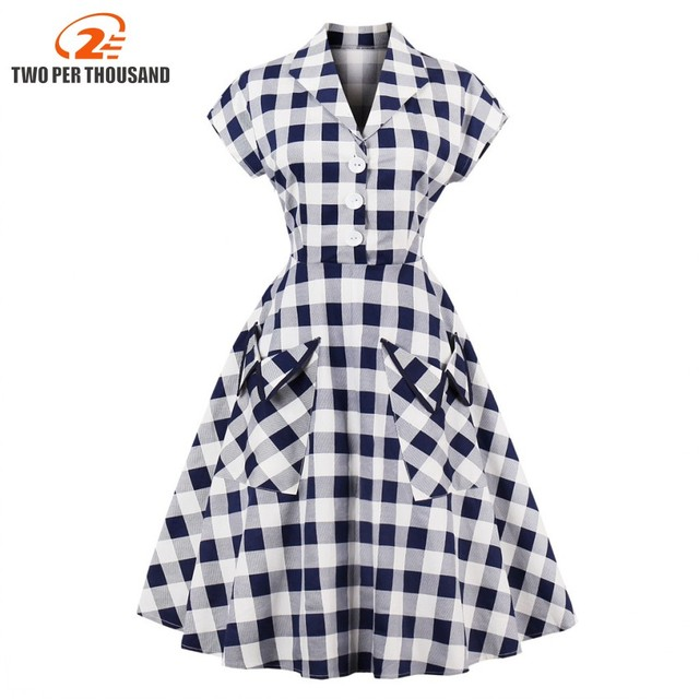 S-4XL Plus Size Women Robe PinUp Dress Retro Vintage 50s Rockabilly Plaid  Pockets Summer female Dresses Elegant Tunic Vestidos 3d4a5dab2d62