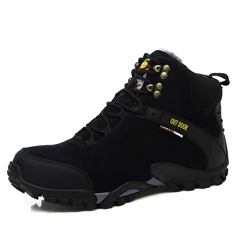 2016 Winter Hiking Shoe For Men Mountain Climbing Shoe Blue/Black High Top Sport Sneakers Winter Keep Warm Leather Outdoor Boots yin qi shi man winter outdoor shoes hiking camping trip high top hiking boots cow leather durable female plush warm outdoor boot
