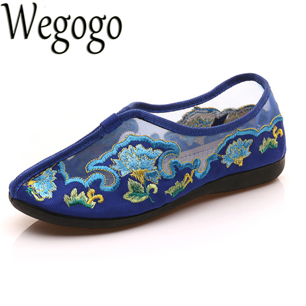 Women Shoes Flats Summer Embroidery Shoes Gauze Floral Casual Soft Canvas Dance Flat For Woman Ballet Zapatos Mujer peacock embroidery women shoes old peking mary jane flat heel denim flats soft sole women dance casual shoes height increase