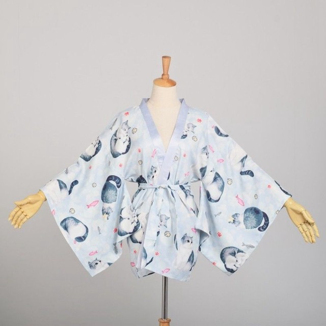79bc97d37faa8 Japan Style Cat Printed Kimono Jacket Women Casual Yukata Haori Coat  Outwear Tops