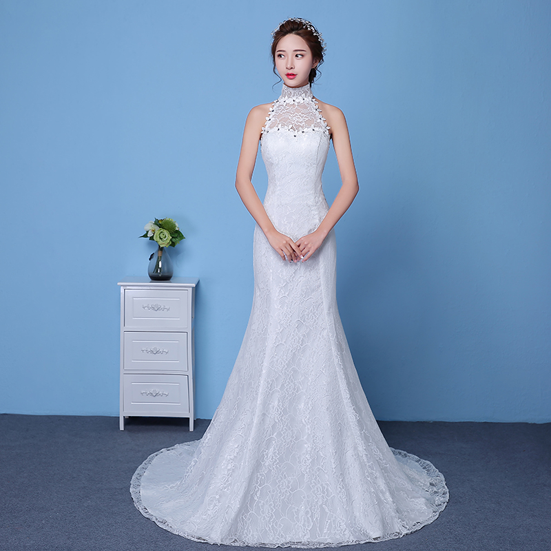 XXN029#The new spring and summer 2017 Big red lace fish tail Slim ...
