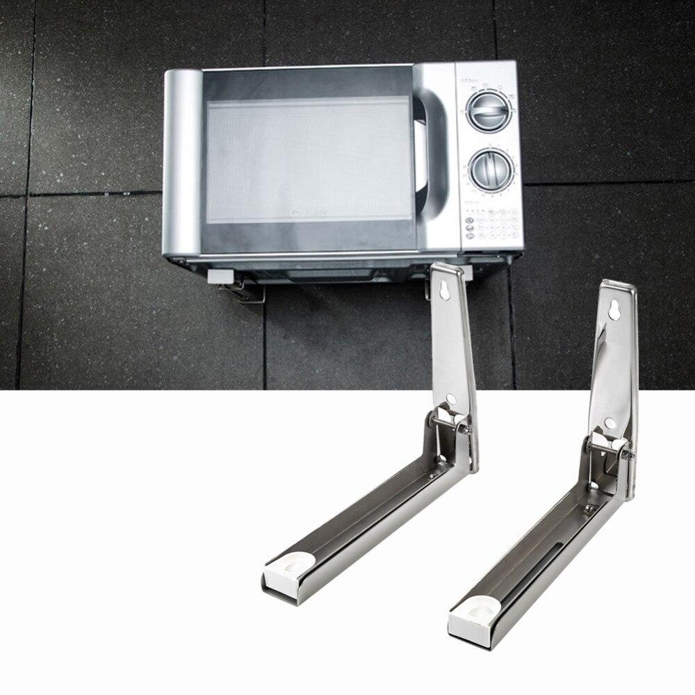 Etagere Murale Micro Onde €18.67 20% de réduction|2x cuisine en acier inoxydable four à micro ondes  support robuste pliable extensible montage mural rack étagère-in pièces de