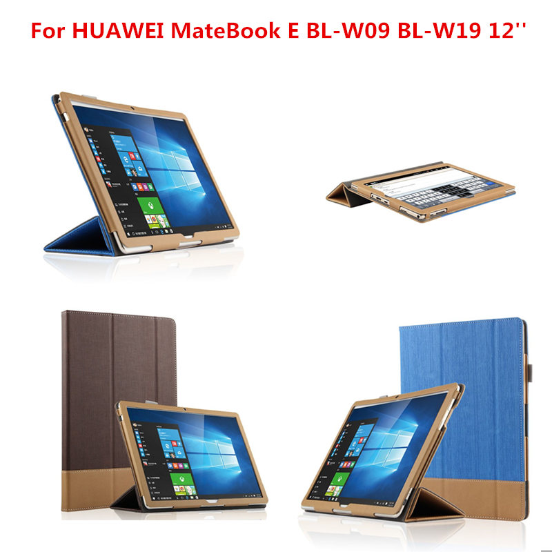 New Fashion Business PU Leather Flip Cover Shell Protective Case For HUAWEI MateBook E BL-W09 BL-W19 12 inch Tablet PC huawei matebook hz w19 256gb gold dock