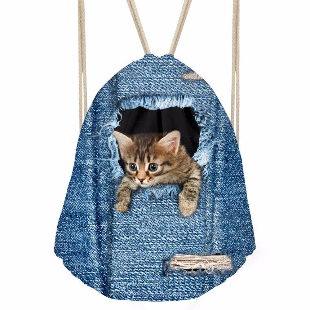 FORUDESIGNS Denim Cat Print Fashion Multifunction Drawstring Bag Cloth Drawstring Bag Women Bag Travel Mochila House Storage BagFORUDESIGNS Denim Cat Print Fashion Multifunction Drawstring Bag Cloth Drawstring Bag Women Bag Travel Mochila House Storage Bag