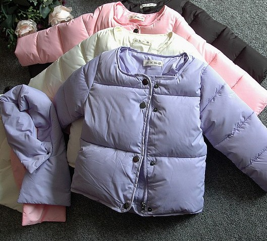 2015 winter new arrival female child outerwear fashion thermal bread baby clothes child cotton-padded jacket down muffler scarf