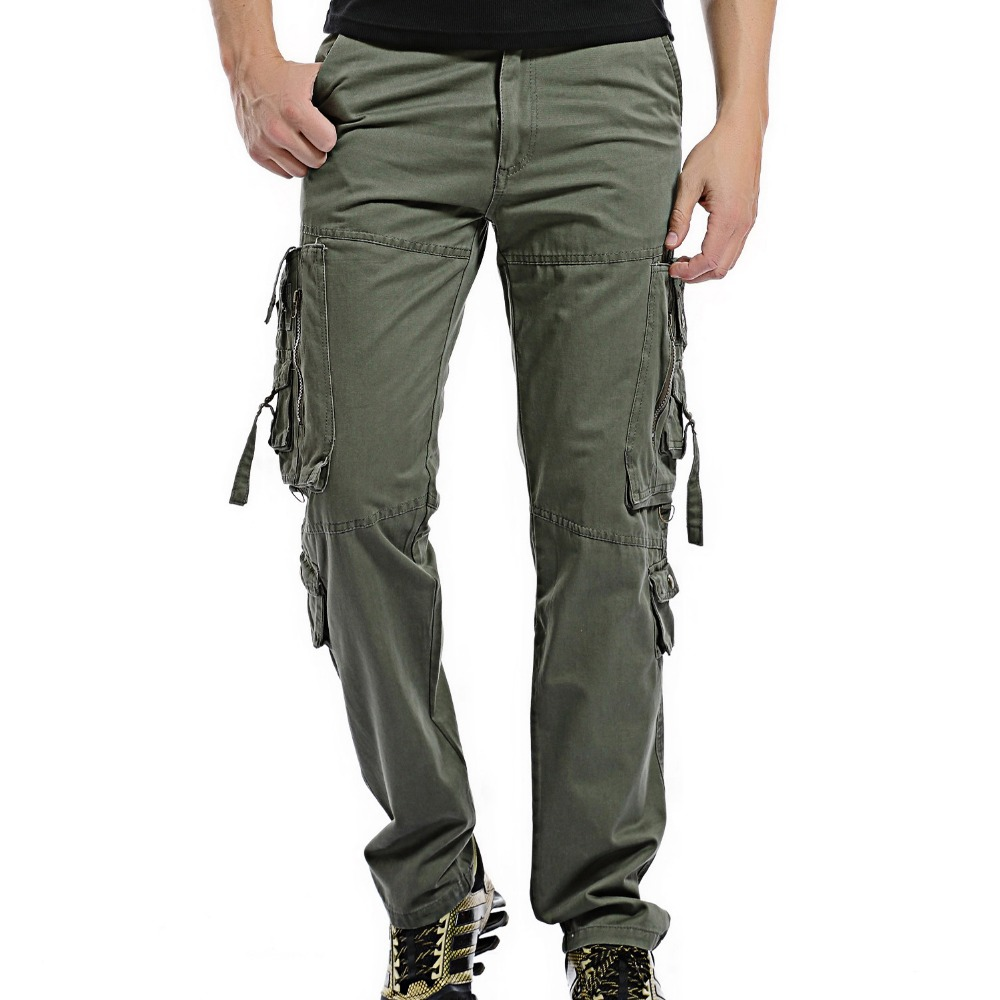 2017 Men Cargo Pants Loose multi-pocket pants Mens Casual easy wash Male Combat Trousers Militar Work Army Pants plus size 42