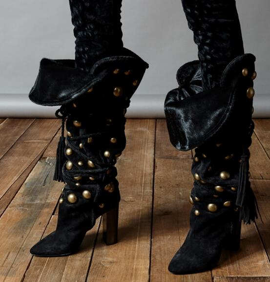 New Winter Brand Women Warming Fold Lace Up Rivets Pointed Toe  Chunky Heels Fringe Tassel Knee High Boots Fashion Long Boots New Winter Brand Women Warming Fold Lace Up Rivets Pointed Toe  Chunky Heels Fringe Tassel Knee High Boots Fashion Long Boots