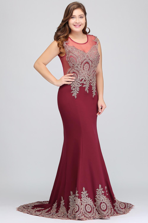 HTB1Isu2eInI8KJjSsziq6z8QpXaHPlus size Evening Dress Burgundy Formal Gown