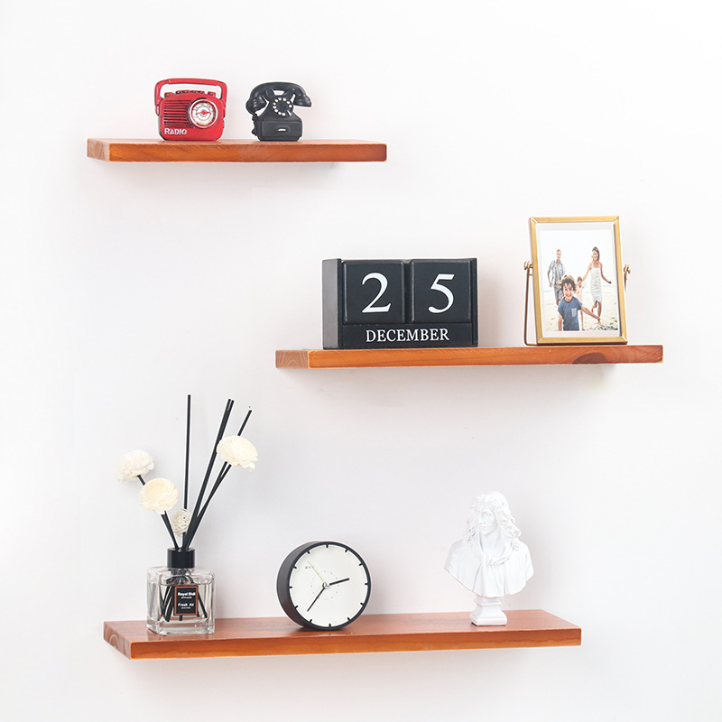 Nordic Wooden Wall Shelf  Wood Shelf Living Room Decoration Organizer Storage Holders Natural Wood Storage Shelf For Wall
