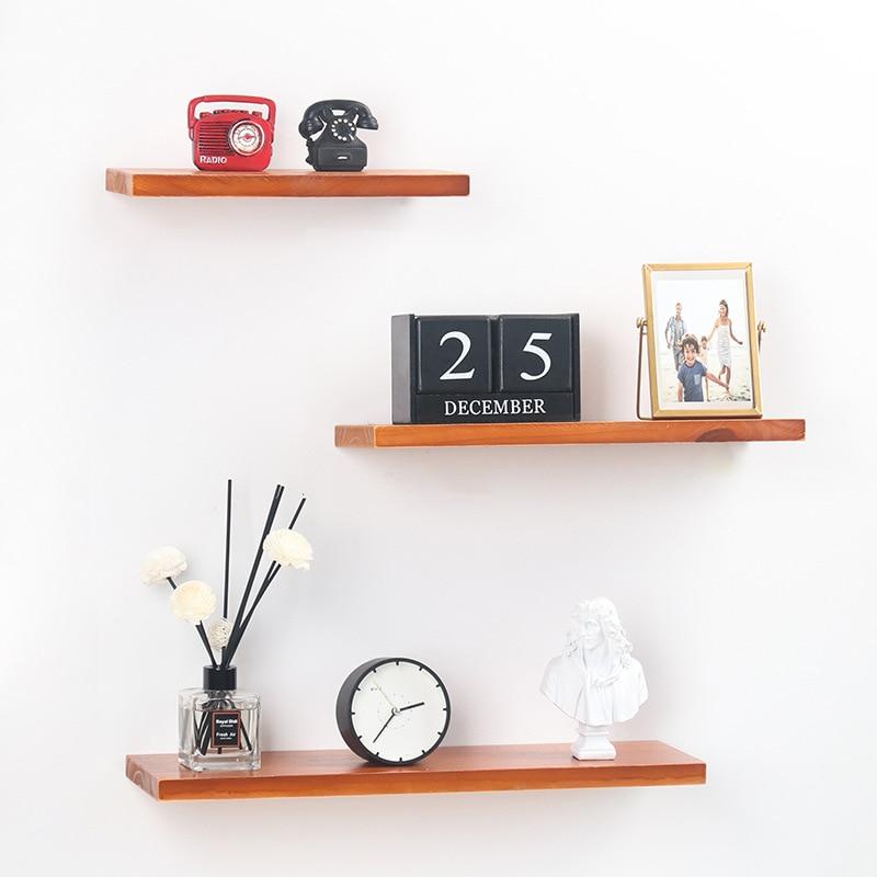 Nordic Wooden Wall Shelf  Wood Shelf Living Room Decoration Organizer Storage Holders Natural Wood Storage Shelf For Wall