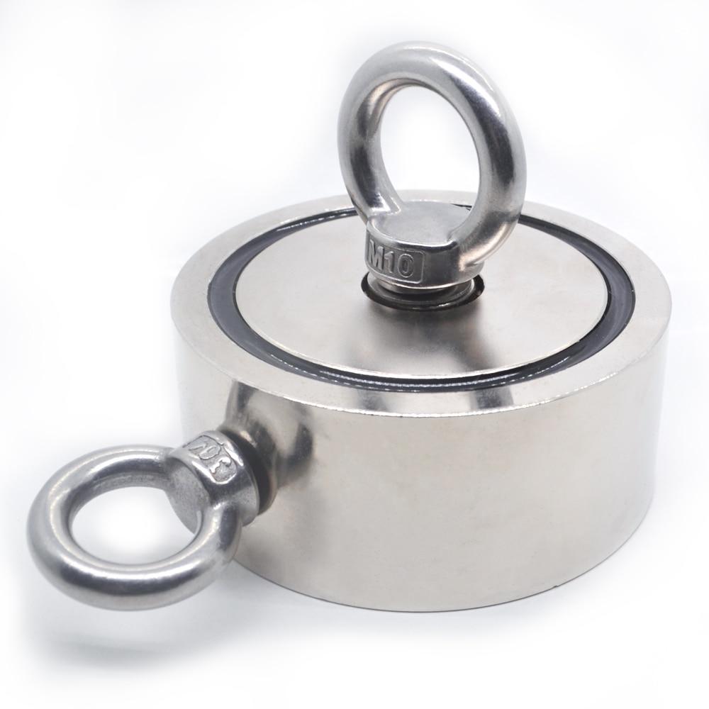 Мощный Неодимовый магнит, Круглый, для поиска крючка, держатель для морской рыбалки, монтажный, с кольцом 48 мм 60 мм 67 мм 75 мм