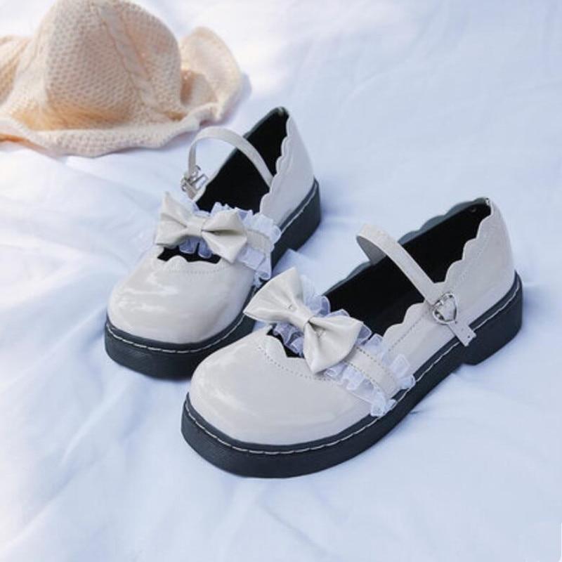 Doce Japonês Lolita Sapatos Harajuku Bonito Loli 3 Cores Pesado-fundo Redondo Cabeça Femininos Princesa Menina Plutônio