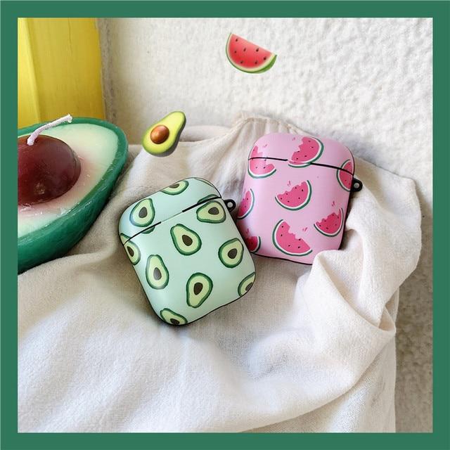 חמוד אבוקדו אבטיח מט נרתיקי אוזניות עבור אפל אלחוטי Bluetooth אוזניות Airpods 1 2 הגנת עור אביזרי כיסוי