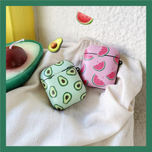 Cute Avocado Watermelon Matte Earphone Cases For Apple Wireless Bluetooth Headset Airpods 1 2 Protection Skin Accessories Cover