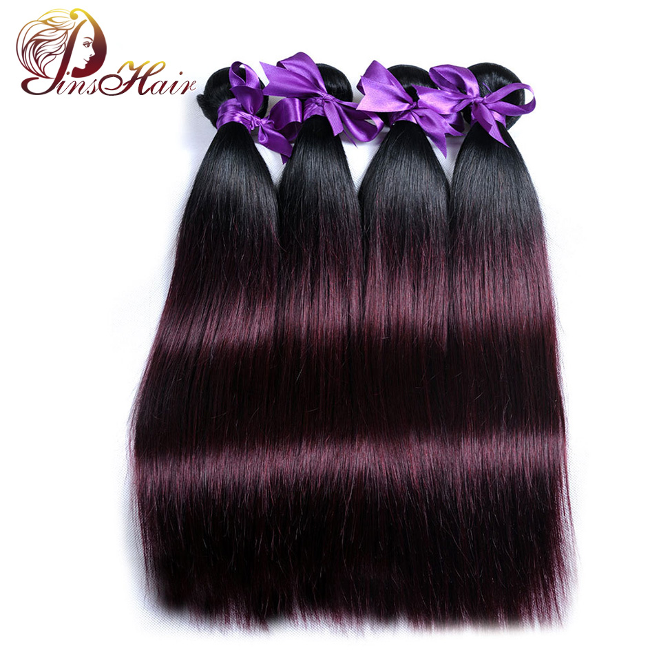 1B Burgundy Ombre 4 Bundles Deals Brazilian Straight Hair Weave Bundle Red Color Human Hair Extension Pinshair Nonremy No Tangle