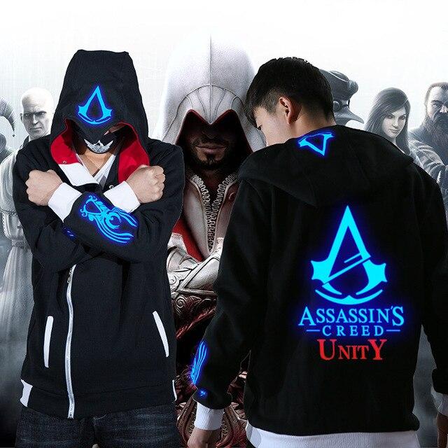 Assassins Creed Black Flag Unity Odyssey Cosplay Zipper Hoodie Luminous Fleece Velvet Jacket Coat Clothing 5