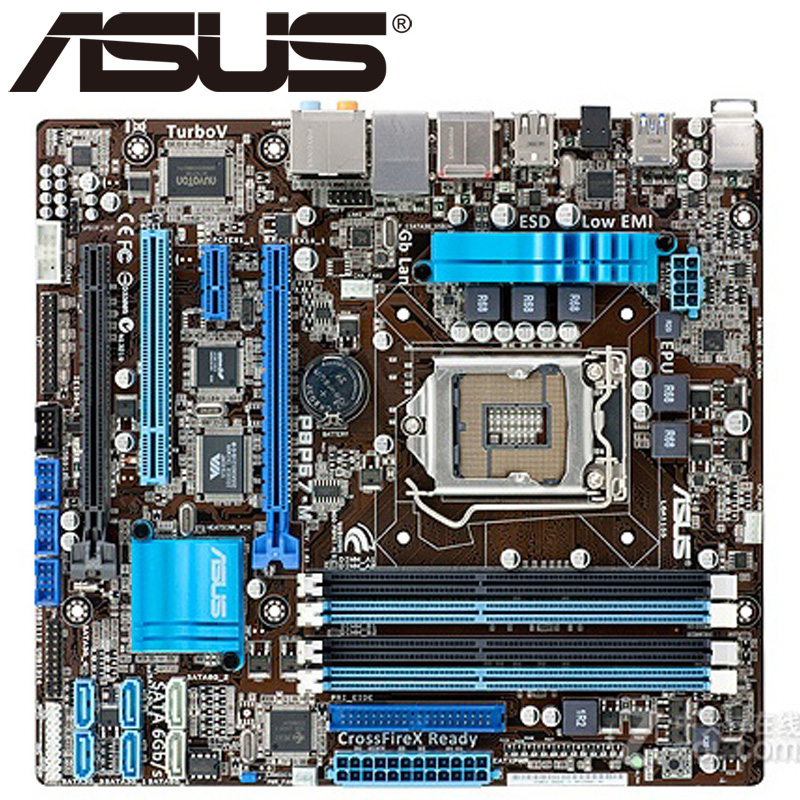 Asus P8P67-M Desktop Motherboard P67 Socket LGA 1155 i3 i5 i7 DDR3 32G u ATX UEFI BIOS Original Used Mainboard On Sale asus p5ql cm desktop motherboard g43 socket lga 775 q8200 q8300 ddr2 8g u atx uefi bios original used mainboard on sale