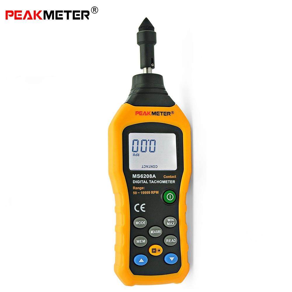 Peakmeter MS6208A свяжитесь с Тип Цифровой тахометр метр Высокая производительность об/мин 50-19999 революции Скорость измерительные приборы