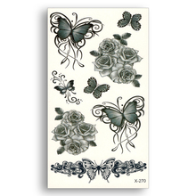 2PCS Water Transfer Fake Tattoo Disposable Waterproof Temporary Stickers Beauty Sexy Butterfly Old School Rose Women Body Art