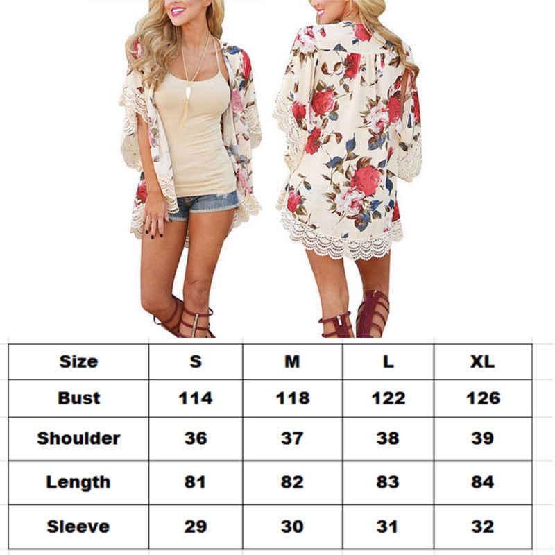 Kobiety kwiatowy sweter na co dzień w stylu Vintage Kimono luźne bluzka lato Boho damskie koszule Blusas płaszcz szal Kimono płaszcz okrycie plażowe się