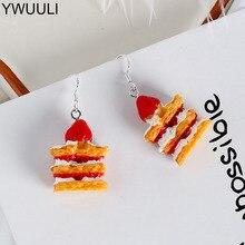 YWUULI Coreano Criativo Bonito Camada De Bolo De Morango Brincos para As Mulheres Frutas Gotas Brincos Pendurados Brincos Doce Jóias Ouvido MS09