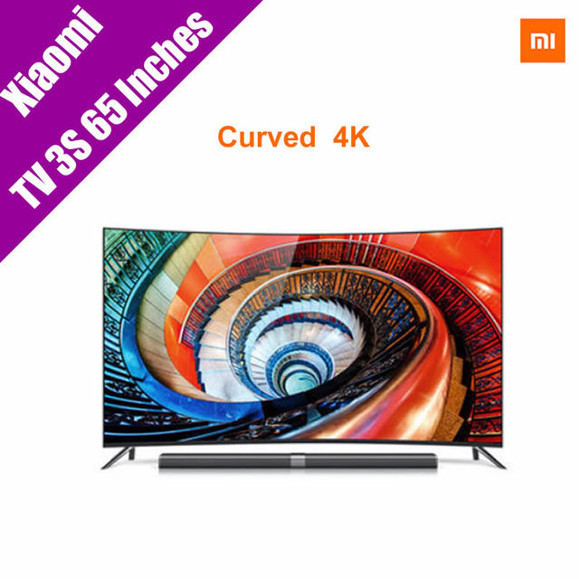 "Оригинал Xiaomi MI 3 S Curve 65 ""дюймов Smart TV Английский Интерфейс HD Экран Настоящее 4 К 3840*2160 Ultra HD Quad Core Тумбы ТВ"