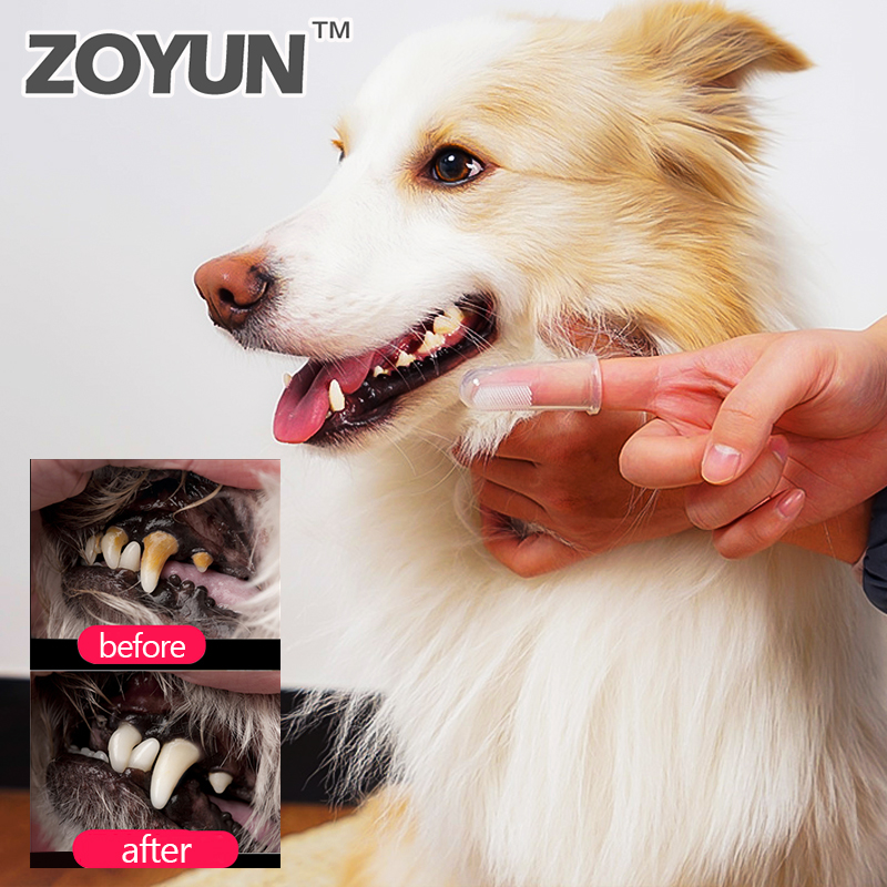Finger Soft Silicone Dog Brushing Stick Teeth Cleaning Supplies For Cats Pet Care Dog Toothbrush Toy Bad Breath Accessories image