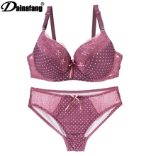 DAINAFANGCDE 85 90 95 Gold Push Underwear Up Lace Lady Lingerie Set Hollow Outfit Set G-string Embroidery Underwear Set Short