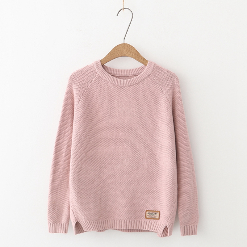 Casual Solid befree Knitted Sweater Women 2018 Autumn Winter Long Sleeve O-neck Pullover Plus Size loose Sweaters Pull Femme