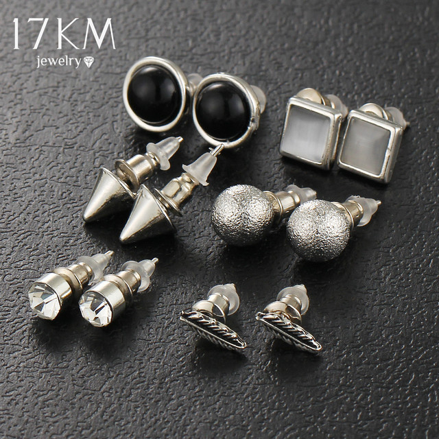 6Pcs/Set Silver Color Ball Crystal Stud Earrings For Women