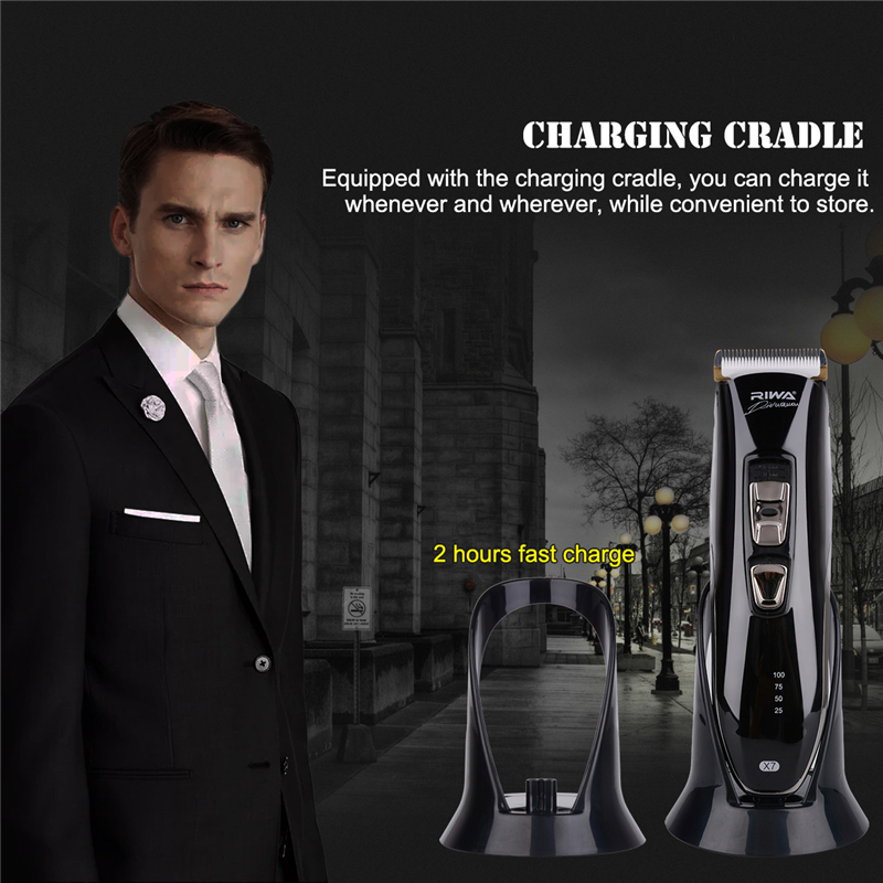 Professional Waterproof Low noise Electric Hair Clipper Trimmer haircut kit cutter+Charging Cradle with 8 comb attachments hot 110 240v low noise rechargeable hair trimmer titanium blade 0 8 2 0mm adjustable hair clipper with 4 limit comb km 6688 s43