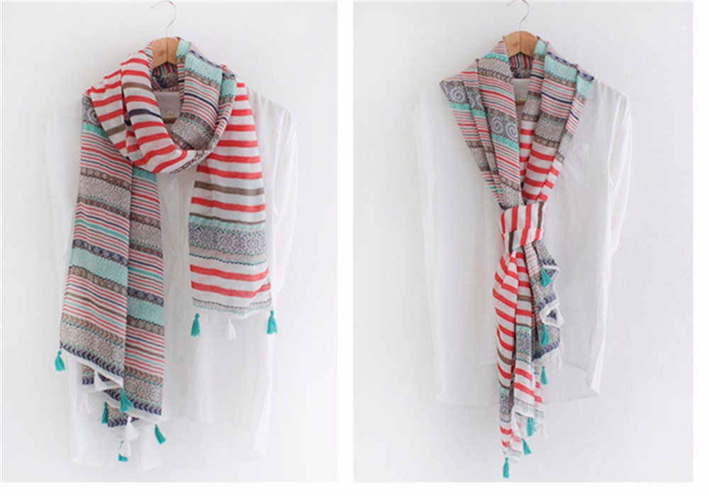 Colorful Tassels Ethnic Scarf | Lightweight Scarves | Up to 60% Off Now
