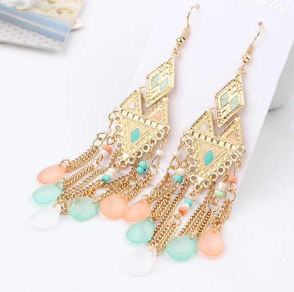 New Fashion Bohemia Beads Crystal Rhinestone Tassel Dangle Earrings Vintage Ethnic Jewelry Gift Women Acessroies 2E431