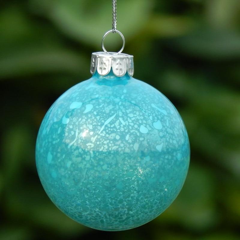Gran embalaje cielo azul hecho a mano colgantes de cristal de Navidad pintura a mano bola de Navidad decoración del hogar - 3