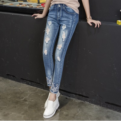 2017 Women ripped Jeans femme Plus Size Vintage Female high waist jeans Ladies Blue Denim boyfriend embroidery Pants Pencil zbaiyh 2017 summer fashion high waist jeans women ripped jean retro boyfriend femme vaqueros mujer plus size jeans denim pants