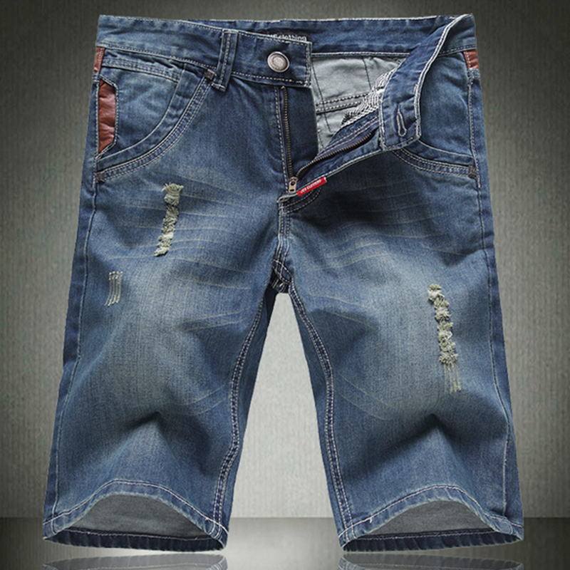 The New Mens Fashion Jeans Frayed Hole Slim Straight Jeans Denim Shorts Casual Pants Fifth Summer STYLE