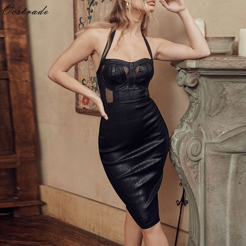 Ocstrade Bandage Dresses 2019 New Arrivals Women Foil Wetlook Sexy Black Halter Bandage Dress Backless Bodycon Club Party Dress
