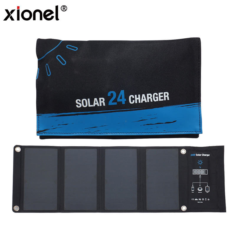 Xionel 24W Dual USB Solar Charger, PowerPort Solar with Fast Charging Solar Bag for iPhone for Samsung Mobile Phone xionel 28w folding cellphones usb portable solar panel fast charging mobile phone waterproof solar charger