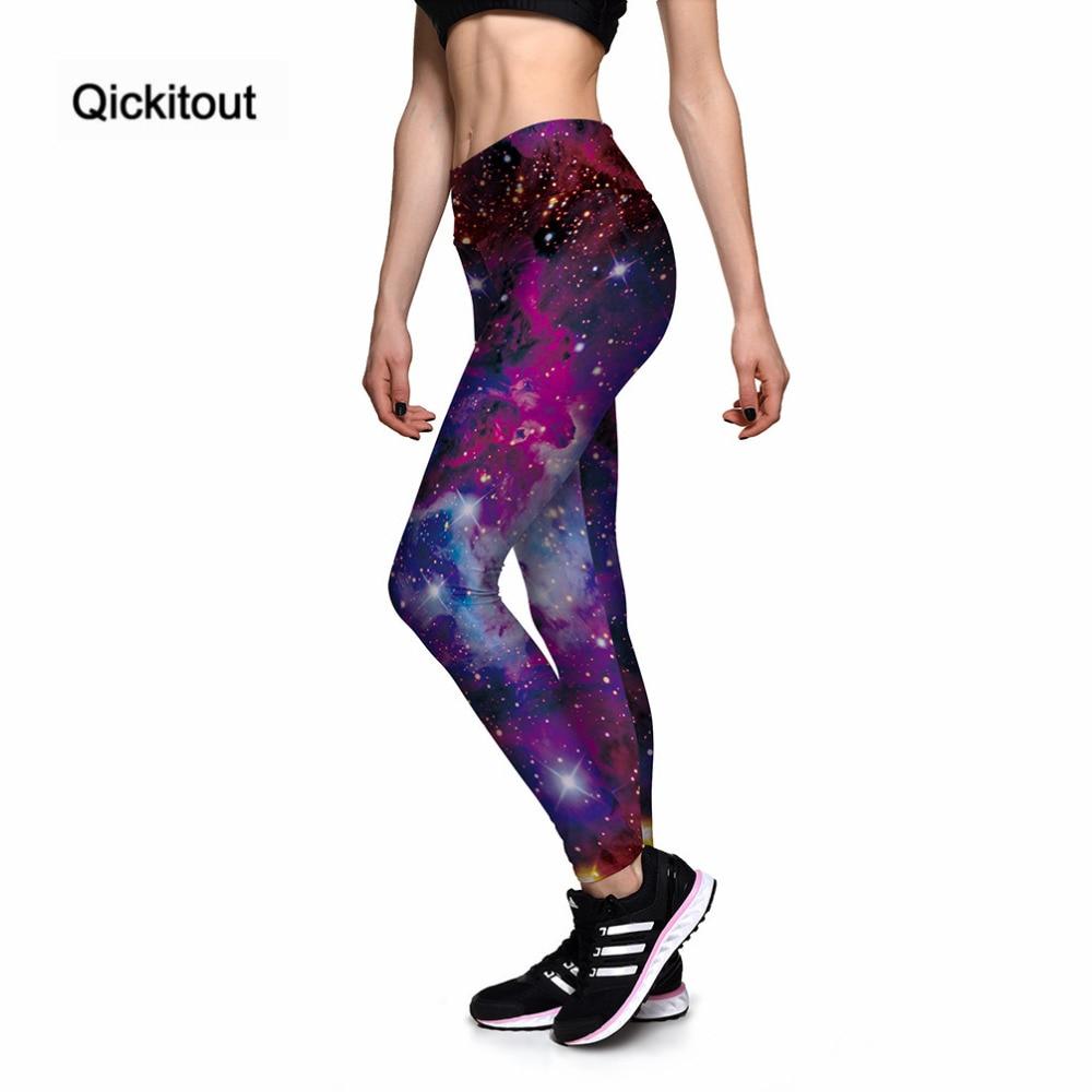 Qickitout   Leggings   Women's Star Universe Shines Galaxy Purple 3D Print PANTS Women High Waist Pants Trousers Fitness Top Sales