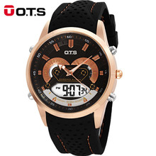 Top OTS Brand Luxury Men Sport Watches Men LED Digital Casual Watch Rubber Band Military Men Quartz WristWatch Relogio Masculino