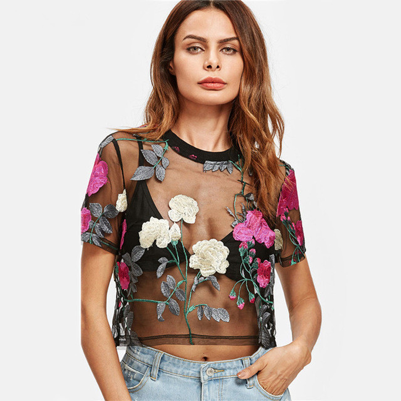 2019 Sexy Sheer Mesh Crop Top Women Flower Embroidered   Blouse     Shirts   Short Sleeve Vintage Green/Rose Ladies See-thought   Shirts